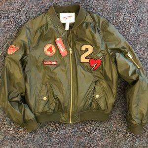 NWT girls olive green bomber jacket